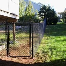 Black chain link fencing with gate