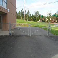 Galvanized chain link fencing with gate